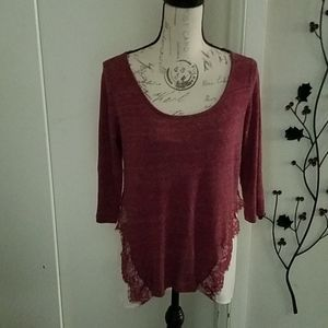 Maurices Unique Wine and Ivory Top